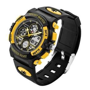 SANDA 4474 lichtgevend Alarm functie kalender weergave ware seconden schijf ontwerp multifunctionele Sport mannen elektronische horloge met kunststof Band(Yellow)