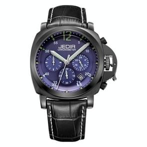 JEDIR 527407 3ATM Waterproof Arabic Numerals Scale Quartz Movement Three Functional Sub Dials(24 Hours, Stopwatch, Minute) Waist Watch with Leather Band & Calendar Display Function for Men(Black Band Blue Window)