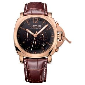 JEDIR 527410 3ATM Waterproof Arabic Numerals Scale Quartz Movement Three Functional Sub Dials(24 Hours, Stopwatch, Minute) Waist Watch with Leather Band & Calendar Display Function for Men(Coffee Band Rose Gold Case Black Window)