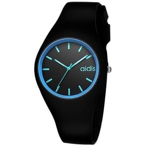 addies MY-1467 Silicone Jelly Couple Watch (Black Blue)