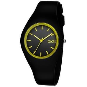 addies MY-1467 Siliconen Jelly Couple Watch (Zwart Geel)