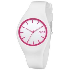 addies MY-1467 Siliconen Jelly Couple Watch (Roze + Wit)