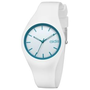 addies MY-1467 Siliconen Jelly Couple Watch (Wit Blauw)