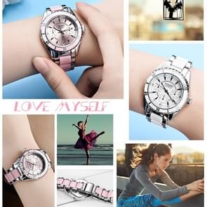 LONGBO 4511 Three Small Dials Fashion Women Quartz Watch with Alloy & Ceramics Band(Pink)