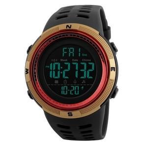 SKMEI sporthorloge 1251 mannen modieuze buiten 50m waterdicht digitaal horloge met PU Watchband(Gold)