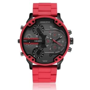 CAGARNY 6830 Fashion Waterproof Quartz Watch with TPE Wristband(Red)