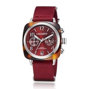 CAGARNY 6883 Fashion Waterproof Polychromatic Metal Shell Quartz Watch with Canvas Wristband