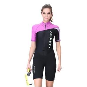 Women 1.5mm Neoprene Snorkeling Wetsuit Scuba Sunscreen Short Sleeve Short Diving Suit, Size: L