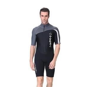 Men 1.5mm Neoprene Snorkeling Wetsuit Scuba Sunscreen Short Sleeve Short Diving Suit, Size: XXL