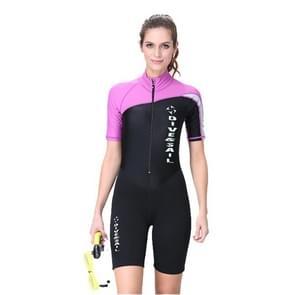 Women 1.5mm Neoprene Snorkeling Wetsuit Scuba Sunscreen Short Sleeve Short Diving Suit, Size: S
