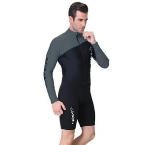 Men 1.5mm Neoprene Snorkeling Wetsuit Scuba Sunscreen Long Sleeve Short Diving Suit, Size: M
