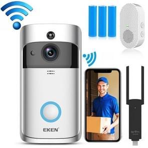 EKEN V5 720P Wireless WiFi Smart Video Doorbell  Support Motion Detection & Infrared Night Vision & Two-way Voice  Package 1: Doorbell + 3 x 18650 Batterijen(Zilver)