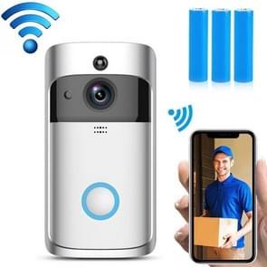EKEN V5 720P Wireless WiFi Smart Video Doorbell  Support Motion Detection & Infrared Night Vision & Two-way Voice  Package 2: Doorbell + Chime + 3 x 18650 Batterijen(Zilver)