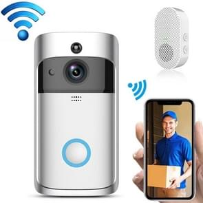 EKEN V5 720P Wireless WiFi Smart Video Doorbell  Support Motion Detection & Infrared Night Vision & Two-way Voice  Package 3: Doorbell + Chime + 3 x 18650 Batterijen + 32GB TF Card(Zilver)