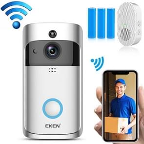 EKEN V5 720P Wireless WiFi Smart Video Doorbell  Support Motion Detection & Infrared Night Vision & Two-way Voice  Package 3: Doorbell + Chime + 3 x 18650 Batterijen + 32GB TF Card + WiFi Extender(Zilver)