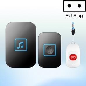 CACAZI C86 draadloze SOS pager deurbel oude man kind lEmergency alarm remote Call Bell  EU plug (zwart)