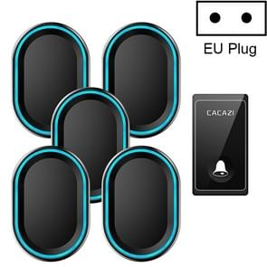 CACAZI FA80 1 knop 5 ontvangers Home Call Bell self-powered Draadloze deurbel  EU plug (zwart)