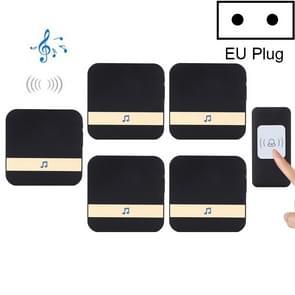 CACAZI A9 1 knop 5 ontvangers Smart Home draadloze afstandsbediening muziek deur Bell  EU plug (zwart)