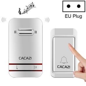 CACAZI V027G één knop één ontvangers zelfaangedreven draadloze Home Kinetic elektronische deurbel  EU-stekker