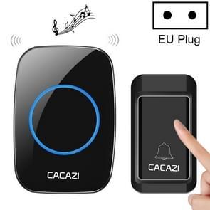CACAZI A10G één knop één ontvangers zelfaangedreven draadloze Home draadloze Bell  EU plug (zwart)