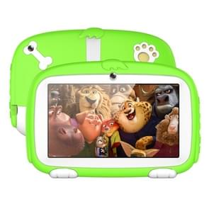 A718 Kids Education Tablet PC  7 0 inch  1GB+16GB  Android 6.0 Allwinner A33 Quad Core 1.3GHz  Support WiFi / TF Card / G-sensor  met Dog Pattern Silicon Case (Groen)