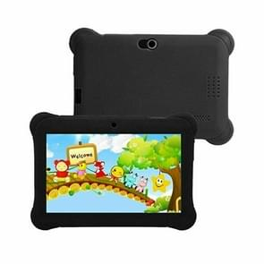 Q88 Kids Education Tablet PC  7 0 inch  512MB+8GB  Android 4.4 Allwinner A33 Quad Core  WiFi  Bluetooth  OTG  FM  Dual Camera  met siliconen hoesje (zwart)
