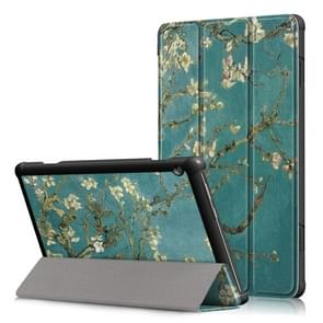 Gekleurde tekening patroon horizontale vervorming Flip lederen Case voor Lenovo Tab M10  met drie-vouwen houder (Prunus patroon)