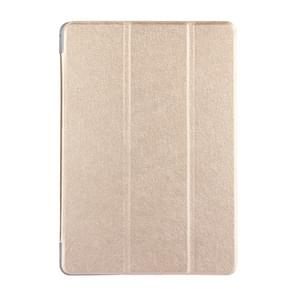 Voor Huawei MediaPad T3 10 9.6 inch Silk textuur horizontale Flip lederen draagtas met 3-vouwen Holder(Gold)