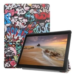 Graffiti patroon horizontaal flip PU lederen draagtas voor Lenovo Tab E10 X 104  met drie-vouwen houder