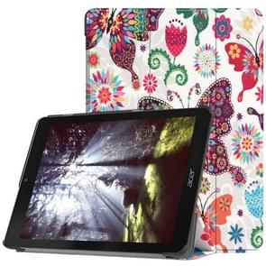 Colorful Butterflies Pattern Horizontal Flip PU Leather Case for Acer Chromebook Tab 10, with Three-folding Holder