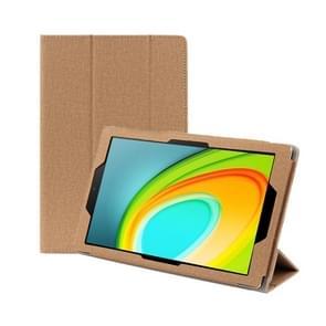 Anti-slip Texture Horizontal Flip Leather Case for CHUWI HI Pad 10.1 Inch with Three-folding Holder(Gold)