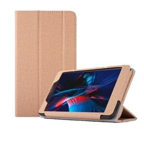 Anti-slip Texture Horizontal Flip Leather Case for Cube POWER M8, with Three-folding Holder (Gold)