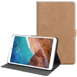 Solid Color Cowhide Texture TPU Horizontal Flip Leather Case for Xiaomi Mi Pad 4 Plus, with Holder & Sleep / Wake-up Function(Light Brown)