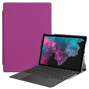 Custer Texture Horizontal Flip PU Leather Case for Microsoft Surface Pro 4 / 5 / 6 12.3 inch, with Holder & Pen Slot(Purple)
