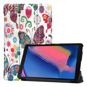 Custer Texture Colorful Butterflies Pattern Colored Drawing Horizontal Flip Leather Case for Galaxy Tab A 8.0 (2019) P205 / P200, with Three-folding Holder