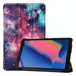Custer textuur Galaxy patroon gekleurde tekening horizontale Flip lederen case voor Galaxy tab A 8 0 (2019) P205/P200  met drie-vouwen houder