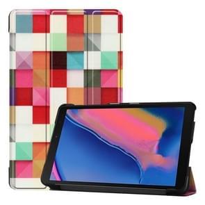 Custer textuur magische kubus patroon gekleurde tekening horizontale Flip lederen case voor Galaxy tab A 8 0 (2019) P205/P200  met drie-vouwen houder