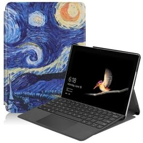 Starry Sky Pattern Colored Painted Horizontal Flip PU Leather Case for Microsoft Surface Go 10 inch, with Holder & Pen Slot