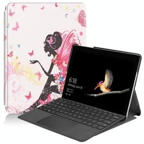 Elf Girl Pattern Colored Painted Horizontal Flip PU Leather Case for Microsoft Surface Go 10 inch, with Holder & Pen Slot