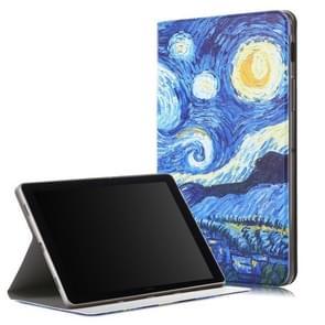 Sterrenhemel patroon gekleurde tekening horizontale Flip lederen case voor Galaxy tab S5e T720/T725  met houder/Wake-up functie