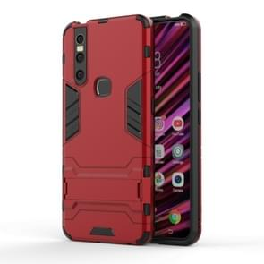 Shockproof PC + TPU Case for VIVO V15, with Holder(Red)