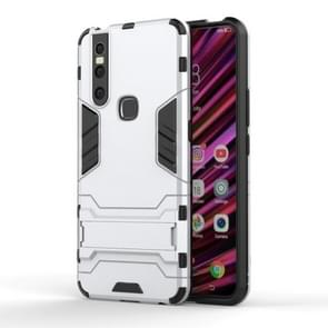 Shockproof PC + TPU Case for VIVO V15, with Holder(Silver)