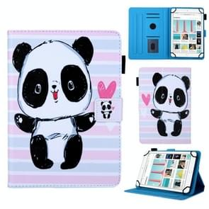 Universal Striped Panda Pattern Horizontal Flip Leather Case for 8 inch Tablet PC, with Holder & Card Slot & Wallet