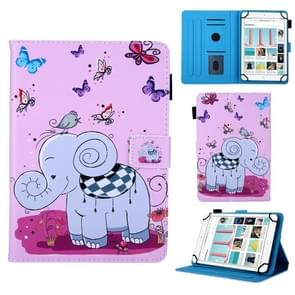 Universal Butterfly Elephant Pattern Horizontal Flip Leather Case for 8 inch Tablet PC, with Holder & Card Slot & Wallet