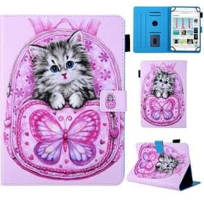 Universal School Bag Series Butterfly Cat Pattern Horizontal Flip Leather Case for 8 inch Tablet PC, with Holder & Card Slot & Wallet