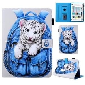 Universal School Bag Series White Tiger Pattern Horizontal Flip Leather Case for 8 inch Tablet PC, with Holder & Card Slot & Wallet