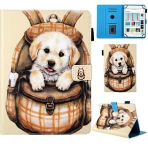 Universal School Bag Series Cute Dog Pattern Horizontal Flip Leather Case for 8 inch Tablet PC, with Holder & Card Slot & Wallet