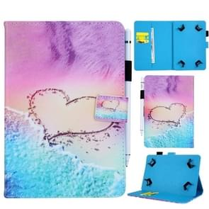 Universal Heart Pattern Horizontal Flip Leather Case for 8 inch Tablet PC, with Holder & Card Slot & Wallet