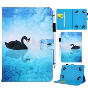 Universal Swan Pattern Horizontal Flip Leather Case for 8 inch Tablet PC, with Holder & Card Slot & Wallet