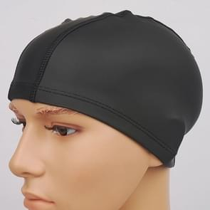 Adult Waterproof PU Coating Stretchy Swimming Cap Keep Long Hair Dry Ear Protection Swim Cap (Black)